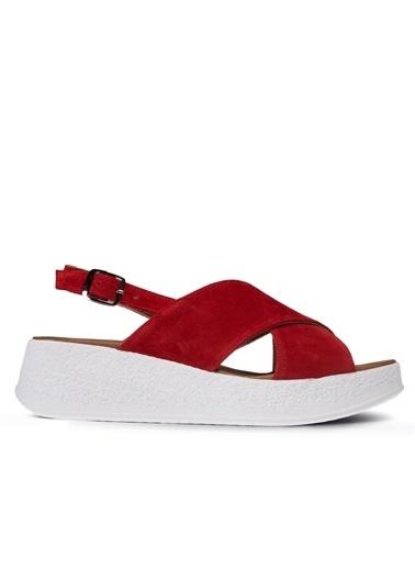 Deery Hakiki Deri Sandalet Kırmızı